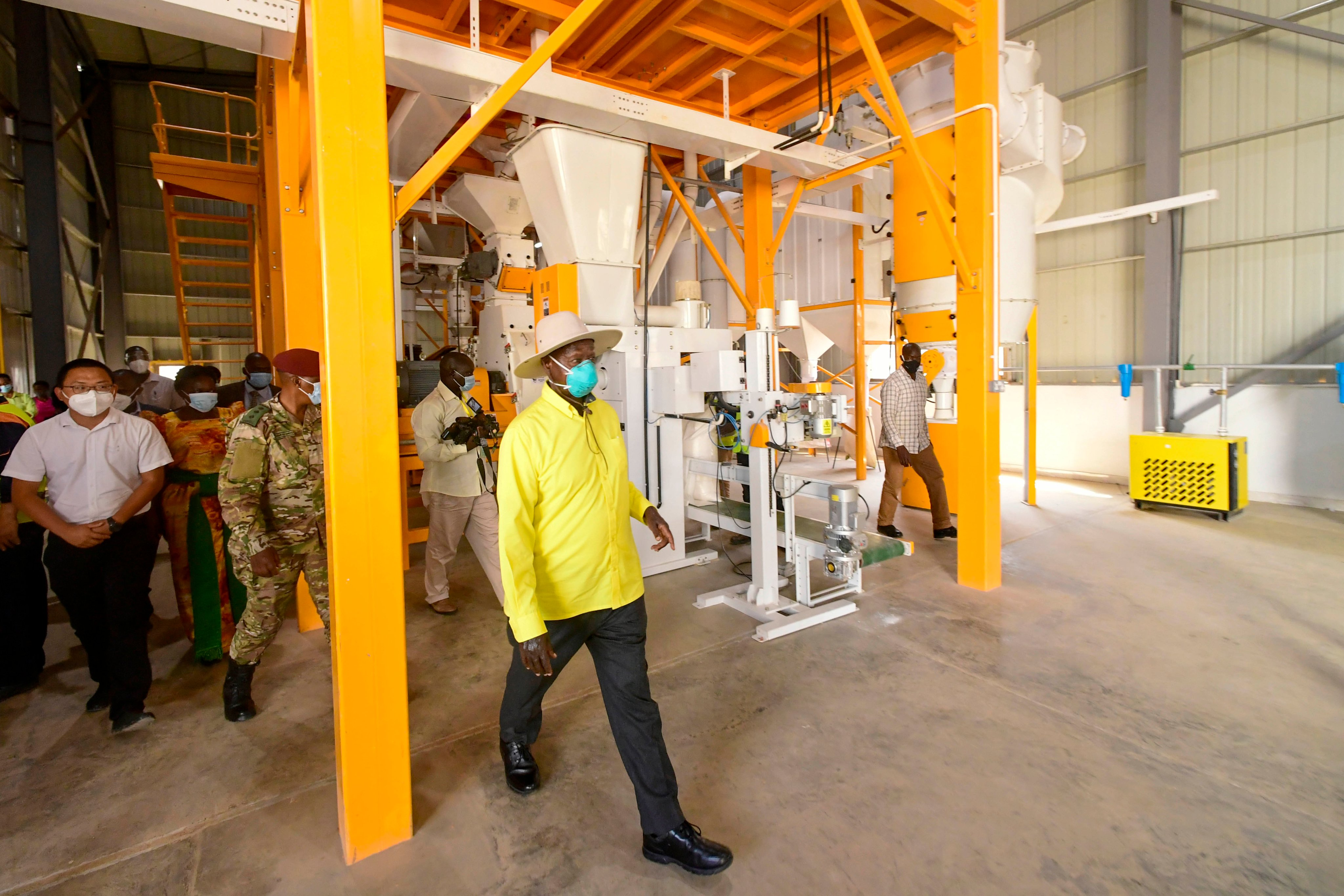 The President of Uganda unveiled the construction of the Uganda Busia Grain Processing Complex Project undertaken by Pingle Group